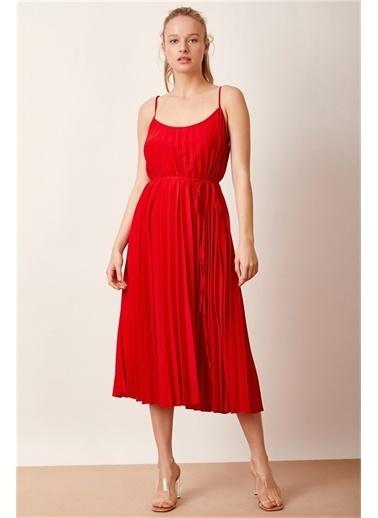 Never More Pilili Askılı Kırmızı Elbise Kırmızı